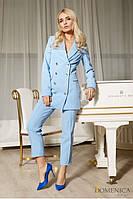 Стильный деловой брючный костюм женский с двубортным пиджаком