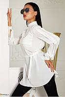 Удлиненная блуза женская белая из софта