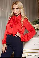 Легкая блуза из шелка женская красная