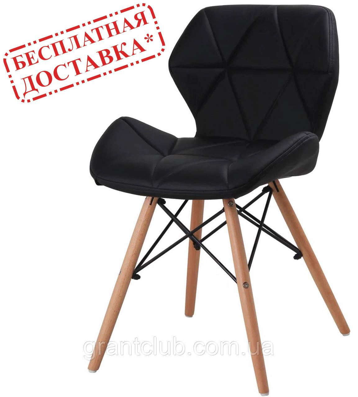 М'який стілець Старий чорний екокожа на дерев'яних ніжках СДМ група (безкоштовна доставка)