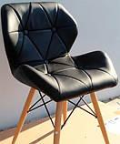 М'який стілець Старий чорний екокожа на дерев'яних ніжках СДМ група (безкоштовна доставка), фото 3