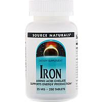 Железо Хелат, Source Naturals, 25 мг, 250 таблеток
