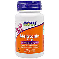 Мелатонин от бессонницы, Melatonin, Now Foods, 3 мг, 60 капсул