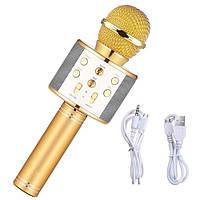 Микрофон караоке беспроводной с колонкой Bluetooth USB WS-858 + ТЕМБР