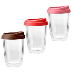 Чашка з подвійною стінкою і силіконовій кришкою 350мл Take away