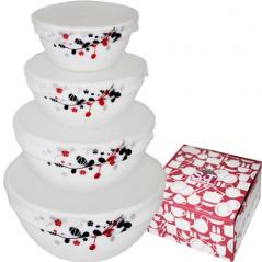 Набір ємностей для зберігання продуктів з кришкою 4шт (7, 6, 5, 4.2) Червоне і чорне