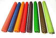 Свечи из цветной вощины катаные ручной работы (высота 26 см диаметр 2,3 см)