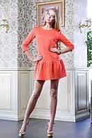 Платье с оборкой ФЛЕР коралловый