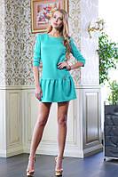 Платье с оборкой ФЛЕР бирюзовый, фото 1