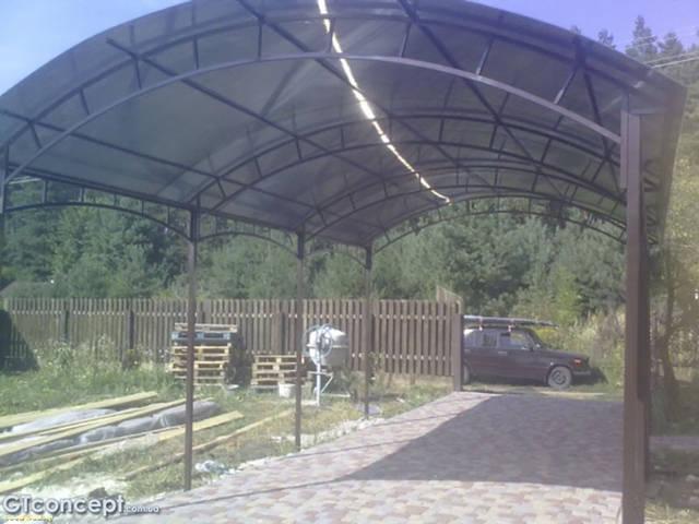 Арочный автонавес из поликарбоната 4х8 метров