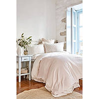 Набор постельное белье с покрывалом пике Karaca Home - Elonora pudra 2020-1 пудра евро