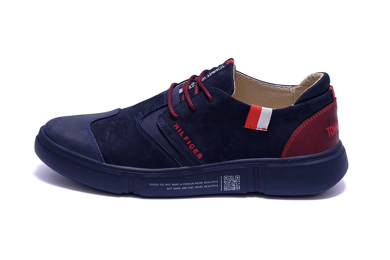 Мужские кожаные кроссовки Hilfiger Blue And Red (реплика)