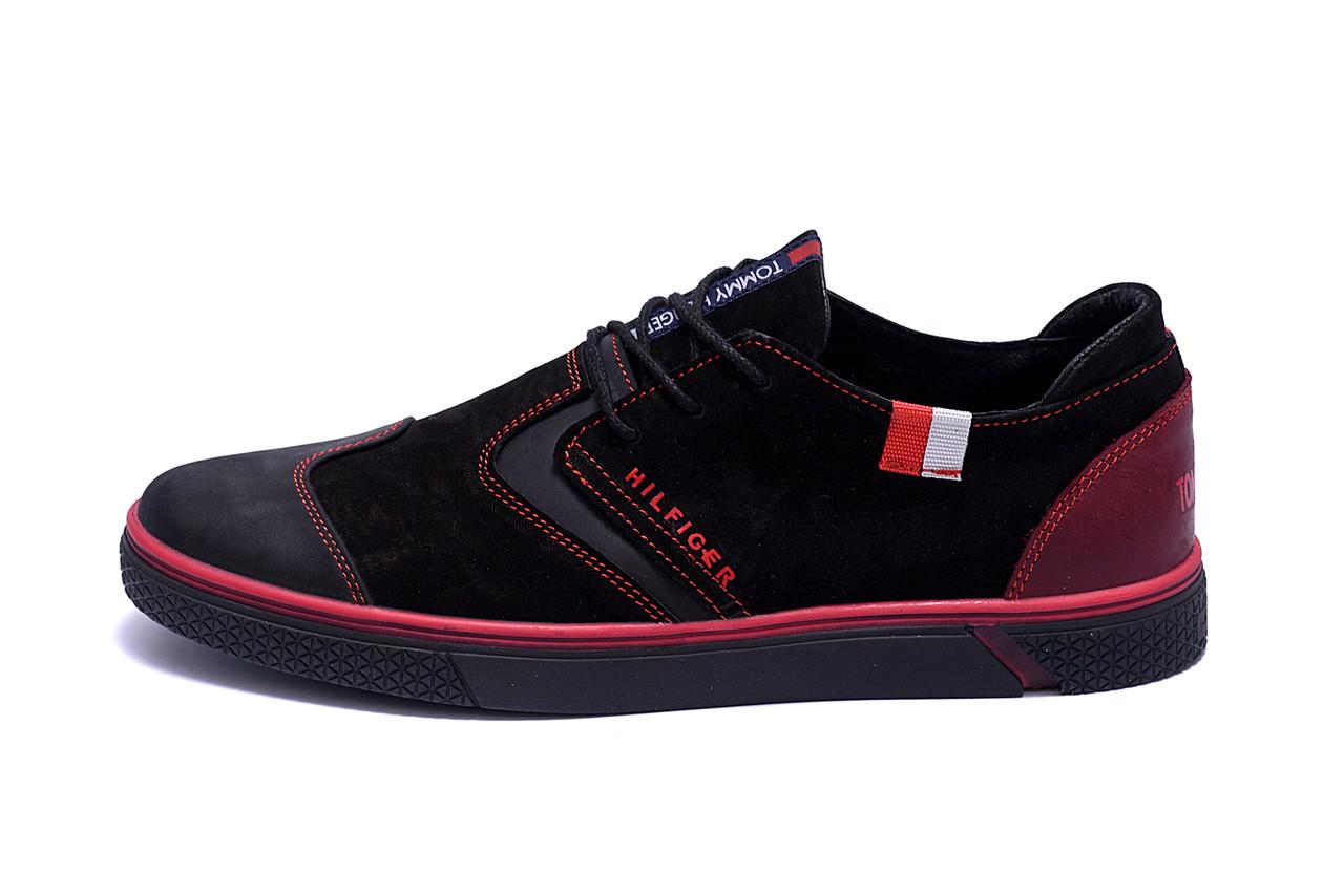 Мужские кожаные кроссовки Hilfiger Black And Red  (реплика)