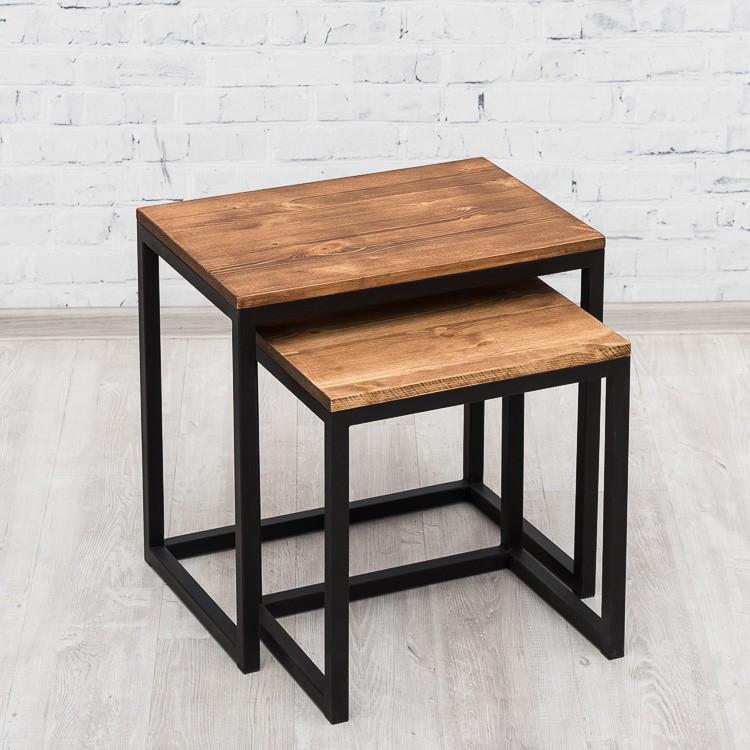 Журнальный/кофейный столик LNK-LOFT из натурального дерева 550*380*550 ( 450*280*450 )