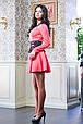 Короткое платье с гипюровым поясом МИШЕЛЬ коралловый, фото 3