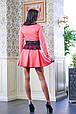 Короткое платье с гипюровым поясом МИШЕЛЬ коралловый, фото 4