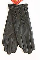 Классические женские черные кожаные перчатки