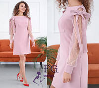 Нарядное пудровое платье до колен