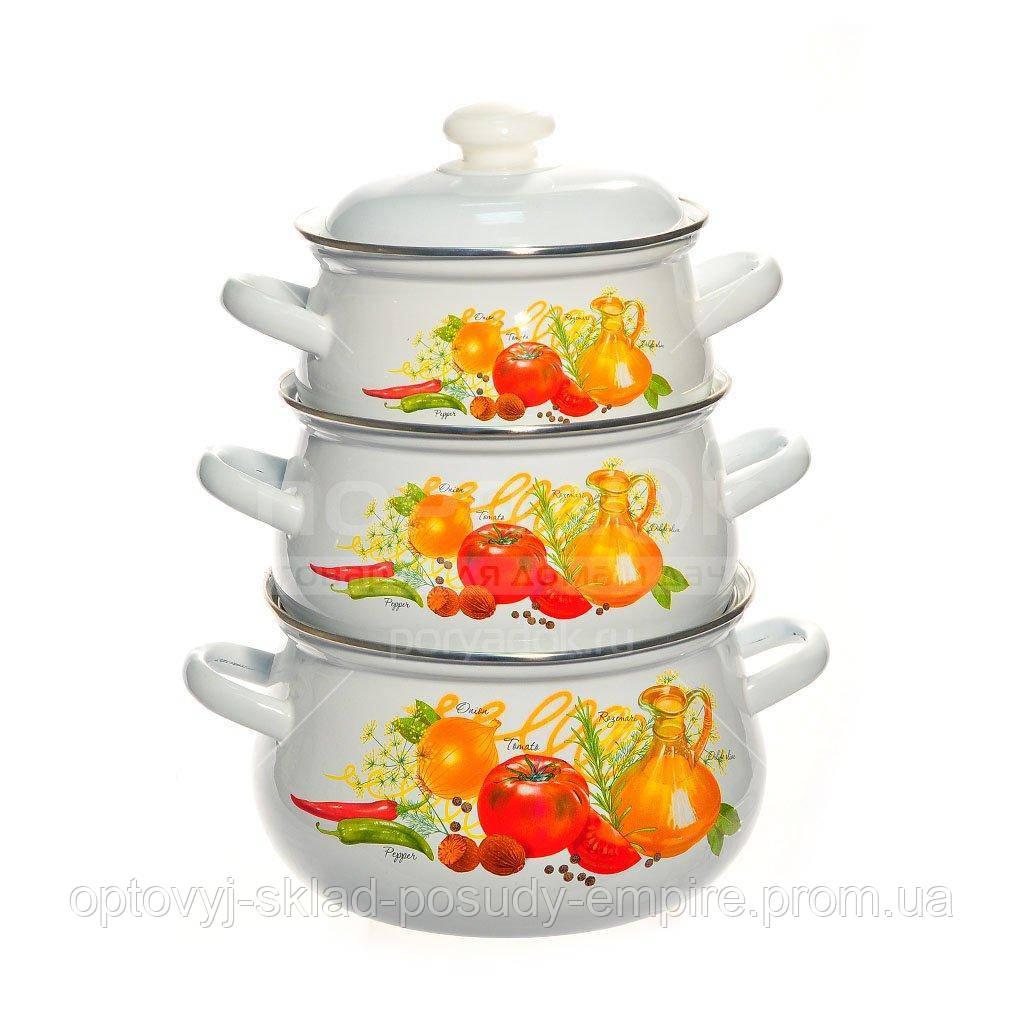 Набор посуды эмалированный 6-предметов объёмом 2л, 3л, 4.5л с нержавеющим ободком Итальянская кухня арт. С129А