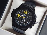 Мужские кварцевые наручные часы Hublot на каучуковом ремешке