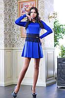 Короткое платье с гипюровым поясом МИШЕЛЬ синий