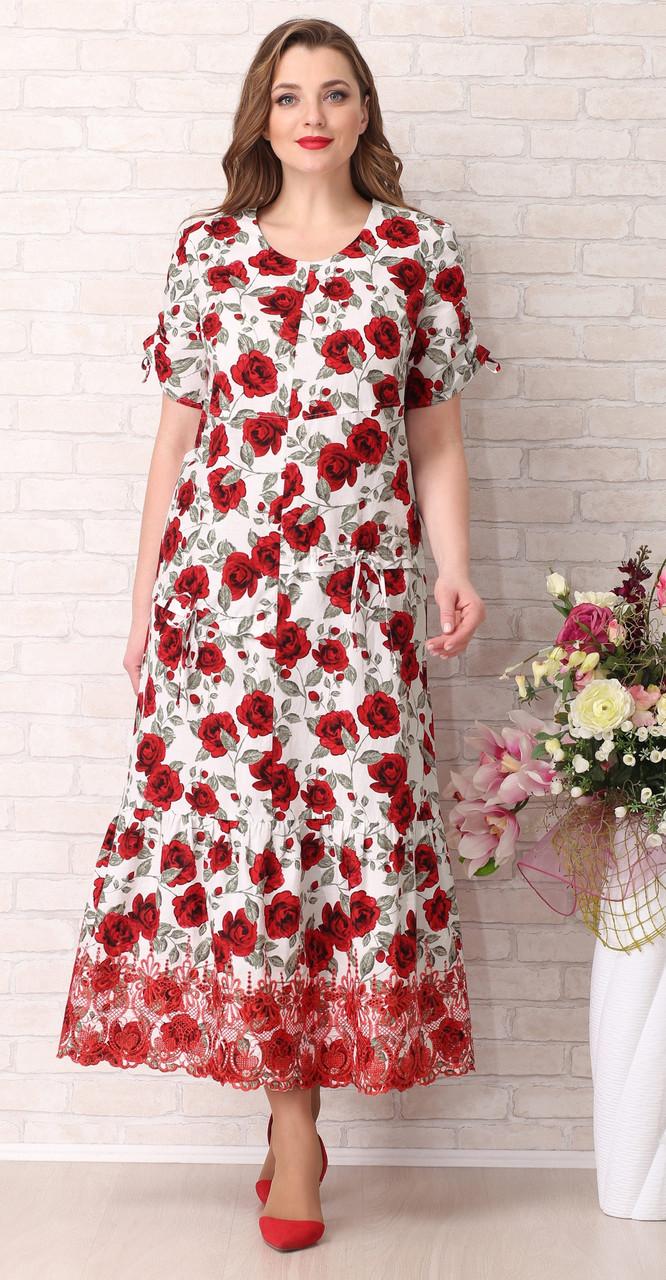 Сукня Aira Style-739/1 білоруський трикотаж, червоні тони з білим, 52