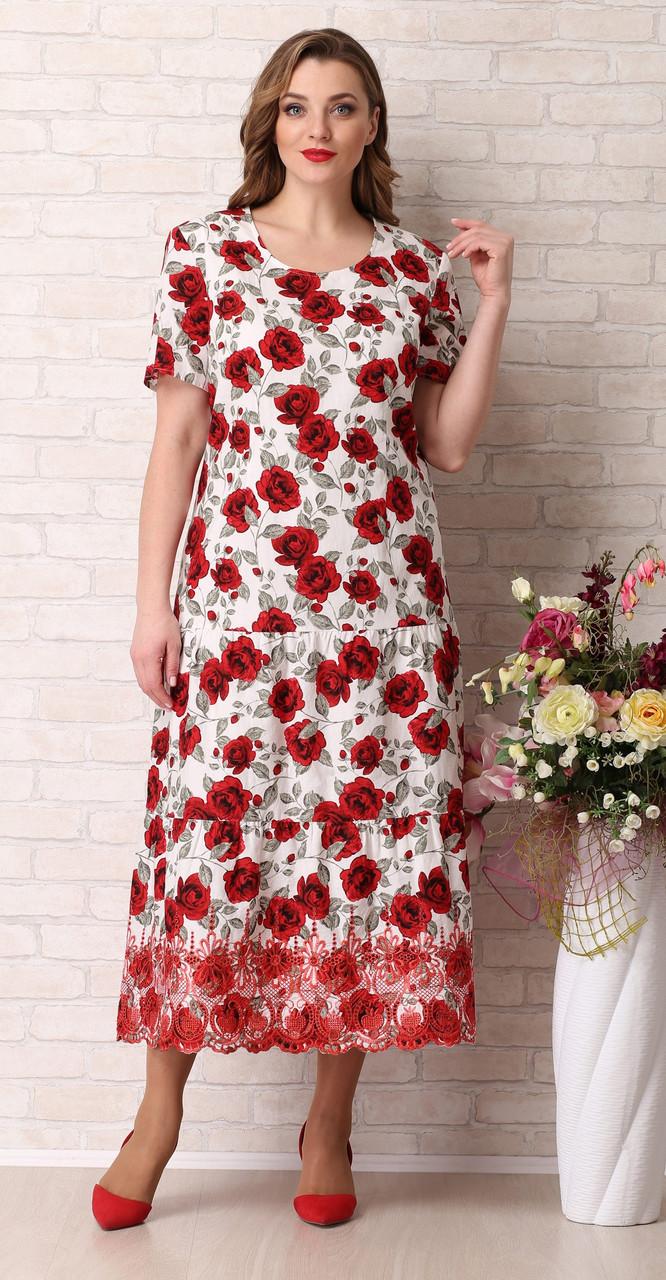 Сукня Aira Style-742 білоруський трикотаж, червоні тони з білим, 54