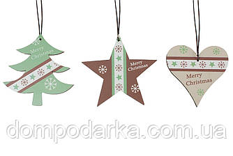 Подвески новогодние MIX 29*10 см 3шт (елка, сердце, звезда)
