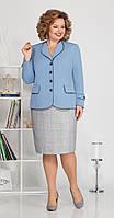 Костюм Ивелта плюс-2486 белорусский трикотаж, голубой с серым, 54