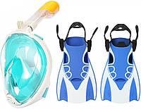 Набор для плавания 2 в 1 (полнолицевая панорамная маска Free Breath M2068G короткие спортивные ласты) Бирюзовая маска (размер L/XL); Ласты (размер М)