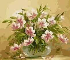 Картина раскраска по номерам цветочная нежность