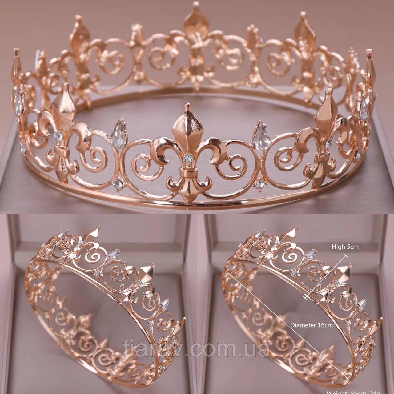 Корона царская мужская церковная БОГЕМИЯ золотая , круглая корона