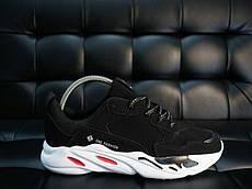 Мужские кроссовки Ван Фешн (черные с белой подошвой)