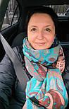 Палантин шерстяной 10219-16, павлопосадский шарф-палантин шерстяной (разреженная шерсть) с осыпкой, фото 2