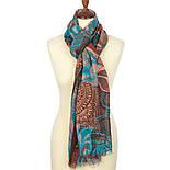 Палантин шерстяной 10219-16, павлопосадский шарф-палантин шерстяной (разреженная шерсть) с осыпкой, фото 5