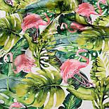 """Отрез ткани с цифровой печатью """"Фламинго с листьями монстеры"""" на белом № 2281, размер 95*160, фото 2"""