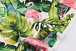 """Отрез ткани с цифровой печатью """"Фламинго с листьями монстеры"""" на белом № 2281, размер 95*160, фото 3"""