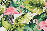 """Отрез ткани с цифровой печатью """"Фламинго с листьями монстеры"""" на белом № 2281, размер 95*160, фото 5"""