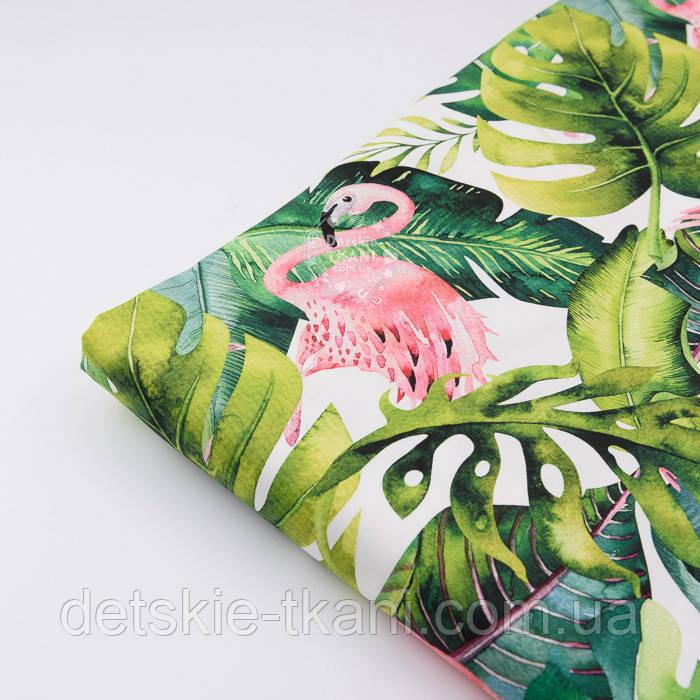 """Отрез ткани с цифровой печатью """"Фламинго с листьями монстеры"""" на белом № 2281, размер 95*160"""