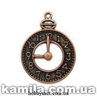 """Метал. подвеска """"часы"""" медь (2,4х3,1 см) 3 шт в уп."""