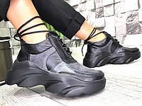 Женские высокие кроссовки в стиле Dsquared из натуральной кожи и замши черные, фото 1