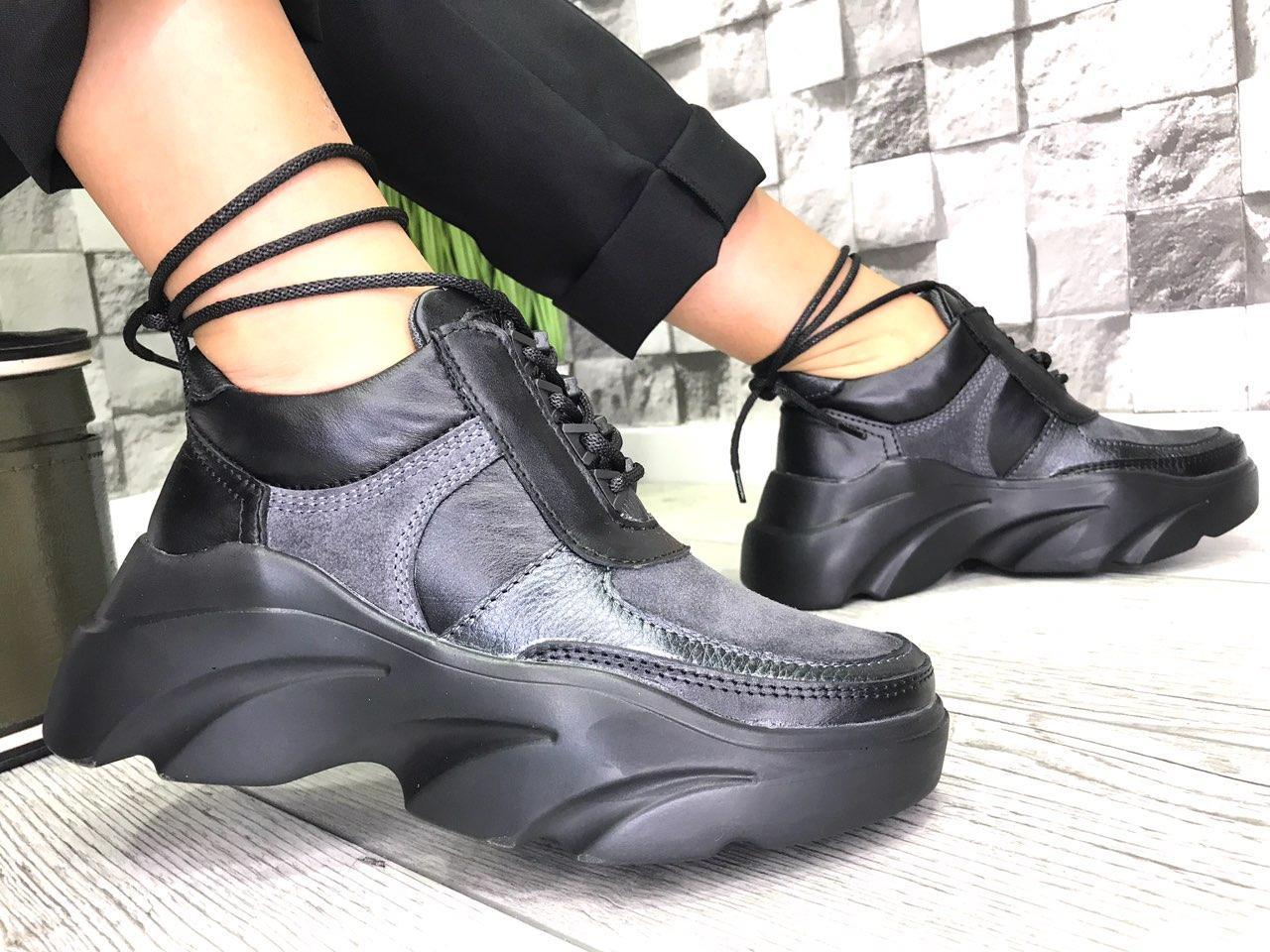 Женские высокие кроссовки в стиле Dsquared из натуральной кожи и замши черные
