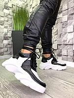 Женские высокие кроссовки в стиле Dsquared из натуральной кожи и замши белые, фото 1