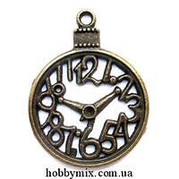 """Метал. подвеска """"часы"""" бронза (3х4 см) 2 шт в уп."""