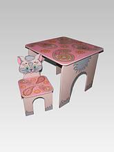 Стол квадратный и стул Котенок (с узорами) (218)