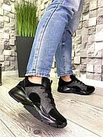 Женские кроссовки в стиле Jimmi CHOO из натуральной кожи и замши черные