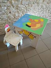 Стол квадратный с рисунком и стул Курочка (362)