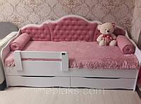 """Кровать """"Л-6""""  для девочки  с мягкой спинкой и подушками"""