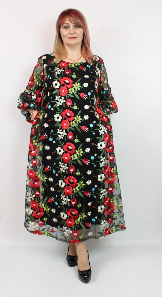 Турецкое нарядное женское платье больших размеров 52-62