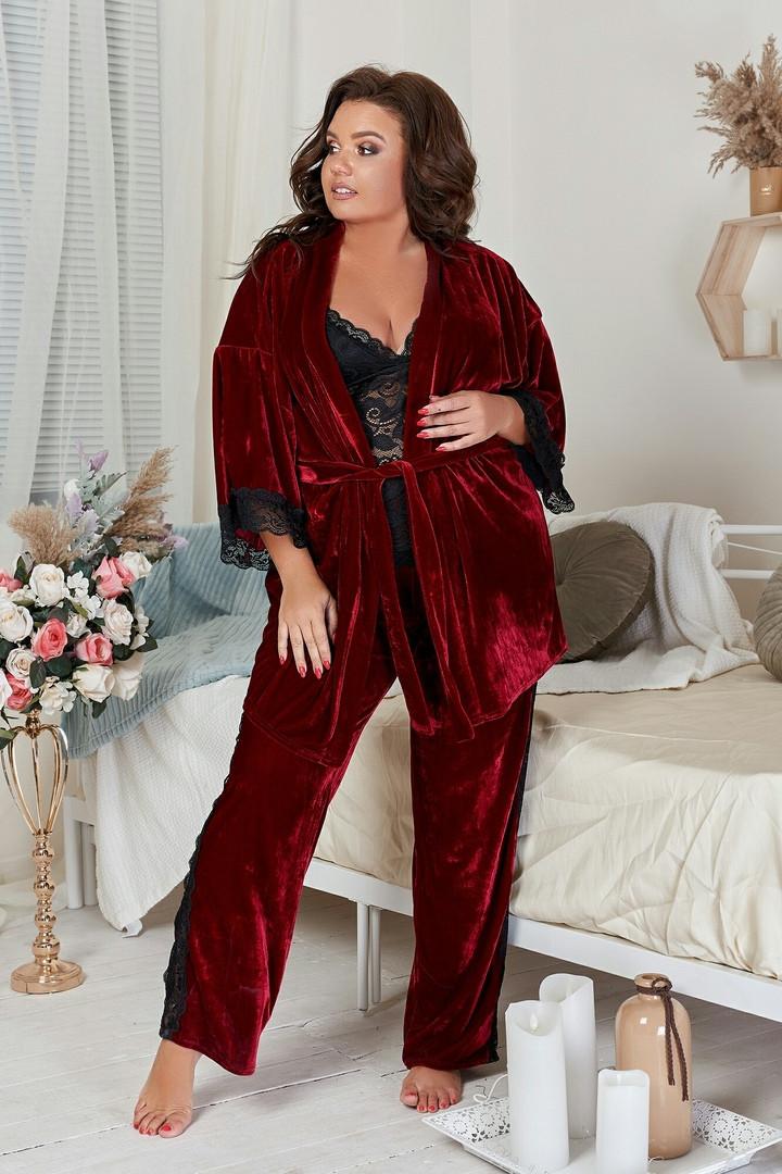 """Бархатный домашний женский комплект-пижама """"COMFORT"""" с кружевом (большие размеры)"""